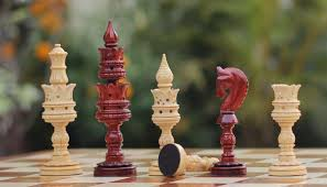 wholesale hand carved beige u0026 maroon color chessmen in wood
