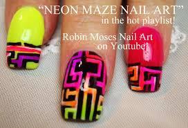 3 nail art tutorials diy neon maze nail art design tutorial