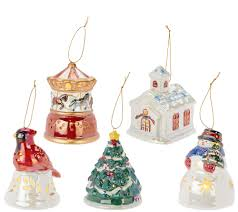 mr s 5 porcelain illuminated ornaments with gift bags