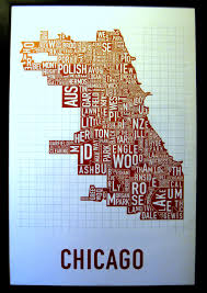 Chicago Neighborhood Map Poster by Chicago Poster Ordinary Time