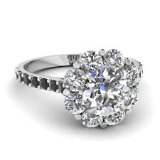 diamond halo rings images Flower halo engagement ring with black diamond in 14k white gold jpg