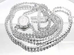 custom rosary 14k white gold mens custom diamond rosary chain 14 00 ctw