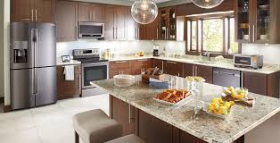 black stainless steel appliances marble tech
