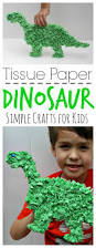 this easy to make tissue paper dinosaur is perfect for little