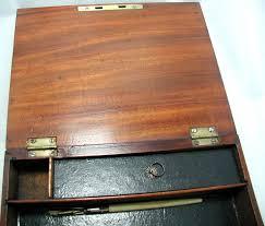 brass key secretary desk solid walnut tunbridge ware writing box brass fittings lock key