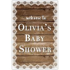 baby shower poster rustic wood and lace welcome to my baby shower poster paper blast