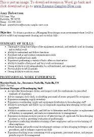Hospital Housekeeping Resume Skills Housekeeping Resume Examples Unforgettable Housekeeper Resume