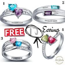 rings with birthstones and names engraved promise ring for ring his and promise