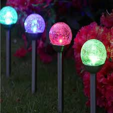 color changing outdoor lights 2pcs lot crystal ball solar lawn light color changing led garden