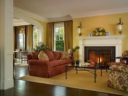 Living Room With Orange Sofa Burnt Orange Sofa Living Room Traditional With Beige Curtain Beige