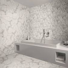 marvellous marble marble effect hexagon tiles in a bathroom
