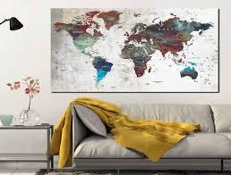 Large World Map Poster Push Pin Map World Map Poster World Map Canvas Watercolor World