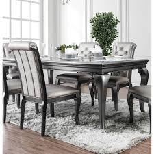 84 inch dining table furniture of america mora glam silver 84 inch dining table with leaf