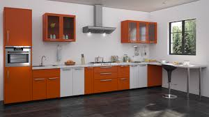 Orange modular kitchen design