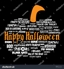 halloween black background pumpkin happy halloween other scary words shape stock illustration