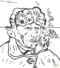 self portrait with bandaged ear by vincent van gogh coloring page