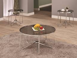 Glass Round Coffee Table by Coaster Occasional Table Sets 3 Piece Contemporary Round Coffee