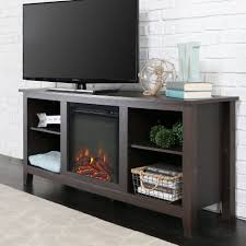 espresso finish tv stand with fireplace 2 shelves with white brick