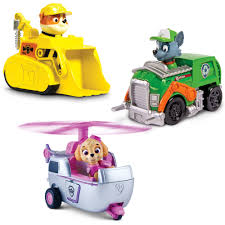 paw patrol racers 3 pack vehicle set rubble rocky walmart