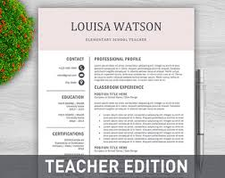 Teachers Resume Template Teaching Resume Etsy