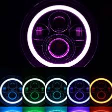 jeep headlights at night 97 u002717 bluetooth color changing halo led headlights for jk and tj