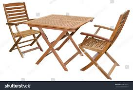 Folding Wooden Garden Table Set Folding Wooden Garden Furniture Table Stock Photo 203640547