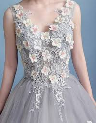 tulle flowers gray tulle flowers prom dress gray evening dress