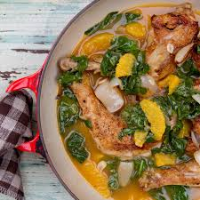 Chicken Main Dish - cane vinegar chicken with pearl onions orange u0026 spinach recipe
