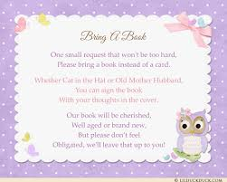 bring a book instead of a card baby shower sweet baby owl insert cards shower rsvp reply