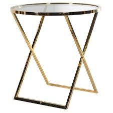 gold metal side table large round gold metal side table glass top mulberry moon
