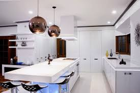 luxurious stainless steel modern kitchen cabinets with pendant