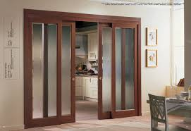 french home interior frosted glass sliding door with wooden trim for home interior