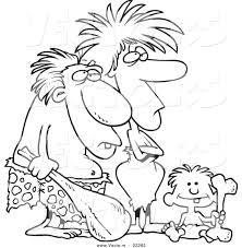 vector of a cartoon caveman dad mom and son coloring page