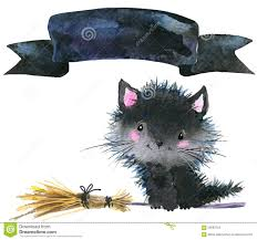 cute halloween background monkey halloween cat and witch hat watercolor illustration background
