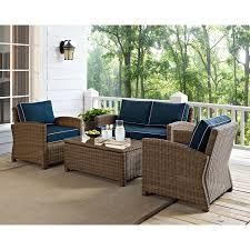 bradenton piece outdoor wicker seating set with navy cushions hover