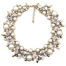 chunky pearl crystal necklace images Women z design fashion chain necklace bib collar chunky choker pearl c jpg