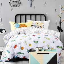 Funny Duvet Sets Kids Orange Yellow Green And White Animal Insect Print Funny Style