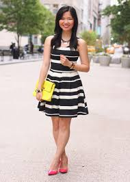 what colors go with yellow black white dress with yellow shoes fashion style street style
