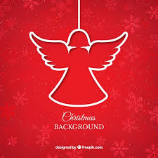 red christmas angel background vector free download