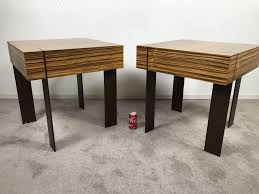 Wood And Metal End Table Pair Of Modernist Antoine Proulx Wood And Metal End Tables Held By
