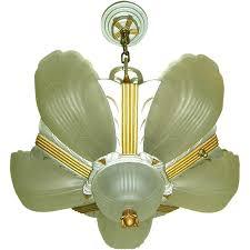 vintage art deco markel 3000 line 6 light slip shade chandelier