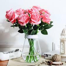 Silk Flowers Wholesale Aliexpress Com Buy 5pcs Simulation Roses Artificial Silk Flowers