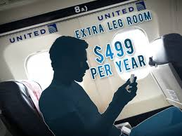 united airlines offers yearly fee for baggage leg room video on