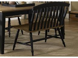 black painted oak wood dining room bench with vertical striped