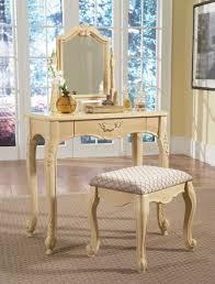 Antique Bedroom Vanity Cream Polished Oak Wood Vanity Table Dresser With Single Drawers
