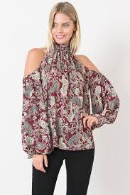 paisley blouse paisley print open shoulder crepe georgette blouse burgundy
