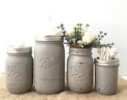 Bathroom Jars With Lids Bathroom Accessories Etsy