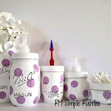 Lavender Bathroom Decor Painted Mason Jars Home Decor From Rmsimplerustics On Etsy