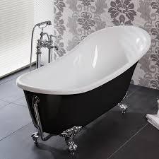 Claw Feet For Bathtub Freestanding Slipper Roll Top Acrylic Bath Tub Black And Chrome