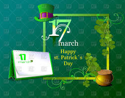 st patrick u0027s day symbols square frame and calendar vector image
